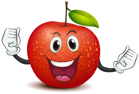 Illustration of a smiling crunchy apple on a white background Vector