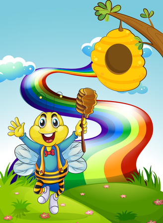 Illustration of a happy bee at the hilltop with a rainbow Vector