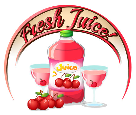 refreshed: Illustration of a fresh juice label with cherries on a white background