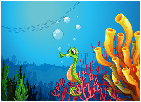 underwater light: Illustration of a seahorse near the coral reefs