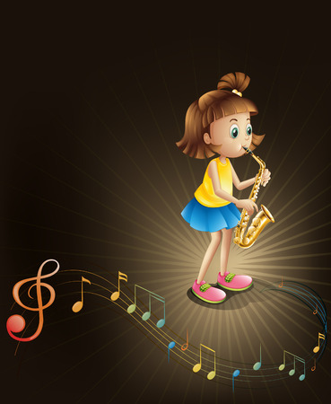 talented: Illustration of a talented young girl with a saxophone