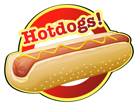 Illustration of a hotdog label on a white background Ilustrace