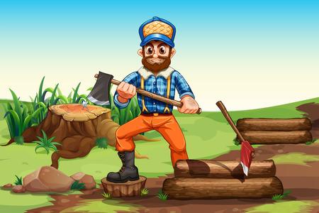 cut logs: Illustration of a lumberjack chopping woods Illustration