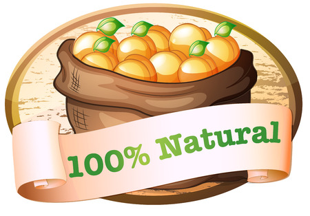 labelling: Illustration of a hundred percent natural label with a sack of oranges on a white background