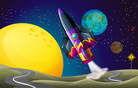meteorites: Illustration of a colorful aircraft near the moon Illustration