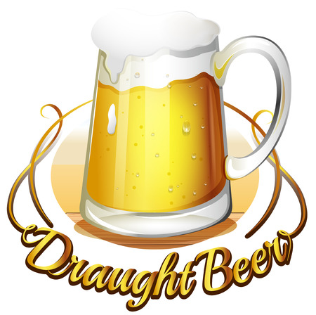 Illustration of a draught beer label on a white background Vector