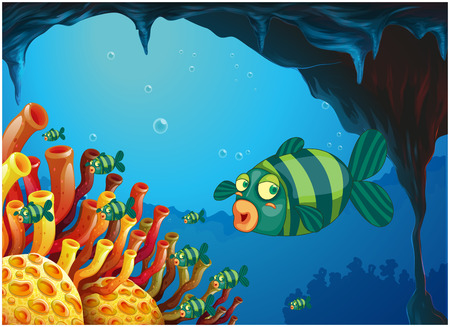 downunder: Illustration of a school of stripe-colored fishes under the sea