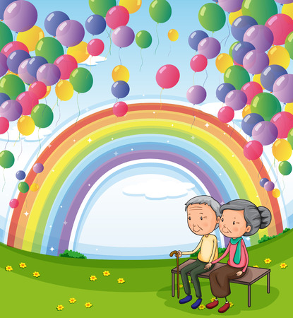 Illustration of an old couple below the floating balloons and the rainbow Vector