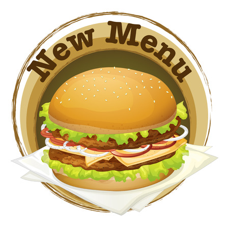 sesame seed: Illustration of a new menu label with a big burger on a white background