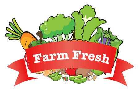 labelling: Illustration of a farm fresh label with fresh vegetables on a white background