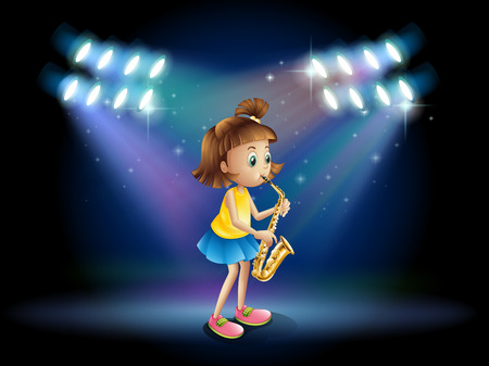 stageplay: Illustration of a young lady at the stage playing with her saxophone