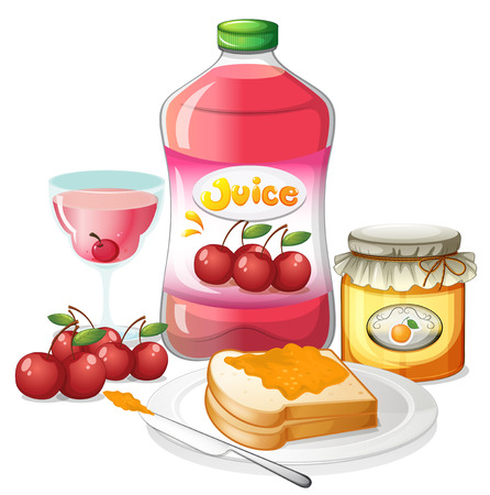 Illustration of the uses of cherries and oranges on a white background Vector