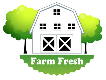 labelling: Illustration of a fresh farm label with a farmhouse on a white background Illustration
