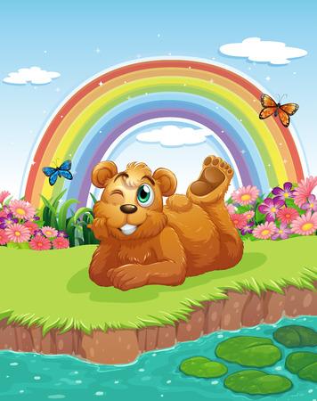 riverbank: Illustration of a bear at the riverbank