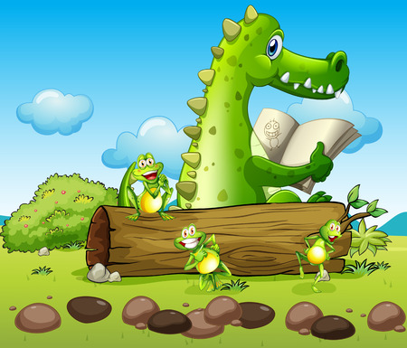 prey: Illustration of a crocodile and the three playful frogs Illustration