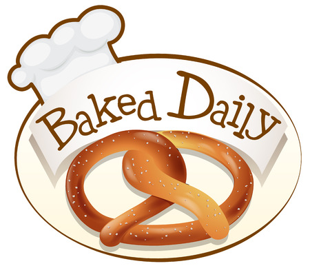 Illustration of a baked daily label with a twisted bread on a white background