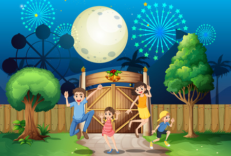 Illustration of a happy family near the gate