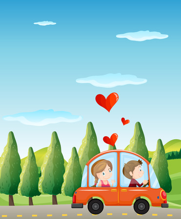 Illustration of a couple riding on a car