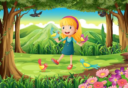 aves caricatura: Ilustración de una niña en el bosque con aves
