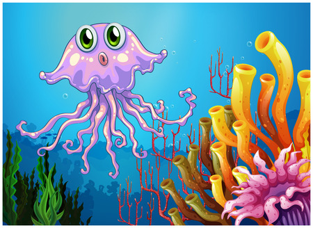 Illustration of a cute jellyfish near the coral reefs on a white background Vector