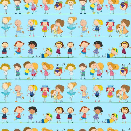 margen: Ilustración de un diseño sin costuras con niños juguetones Vectores