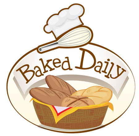 Illustration of a baked daily label with a basket of breads on a white background