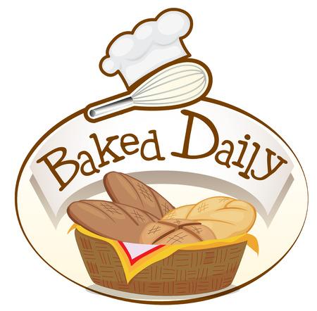 canasta de pan: Ilustraci�n de una etiqueta de todos los d�as al horno con una cesta de pan en un fondo blanco