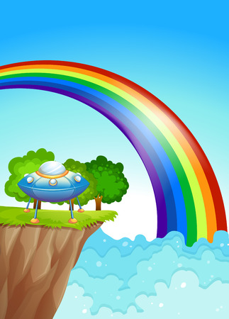 endpoint: Illustration of a saucer at the cliff and a rainbow in the sky