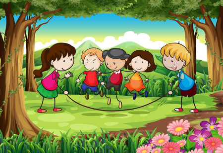 Illustration of a group of kids playing at the forest Vector