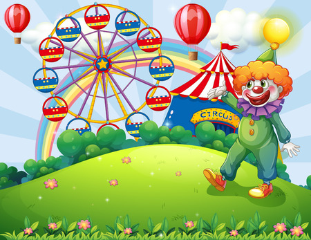 Illustration of a hilltop with a clown and an amusement park Vector