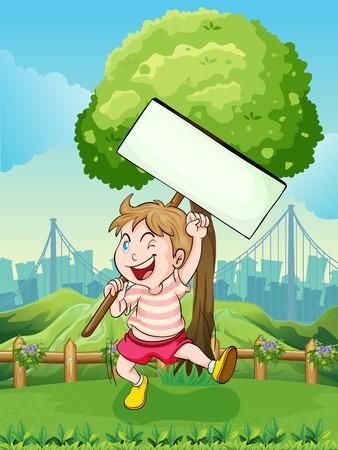jumping fence: Ilustración de un niño feliz cerca del árbol con un tablero vacío