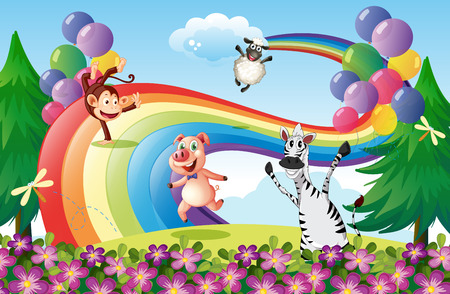 monkey on a tree: Illustration of the animals playing at the hilltop with a rainbow Illustration