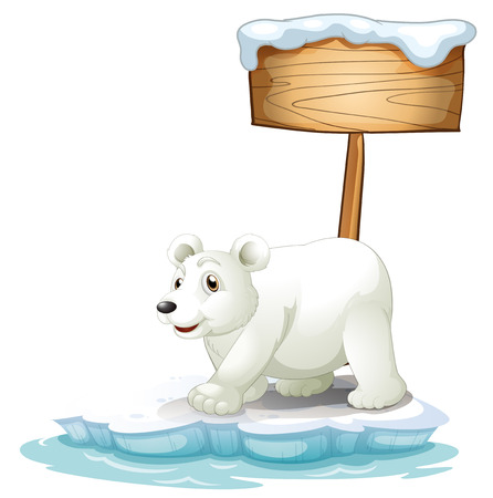 Illustration of a white polar bear below the wooden signboard on a white background