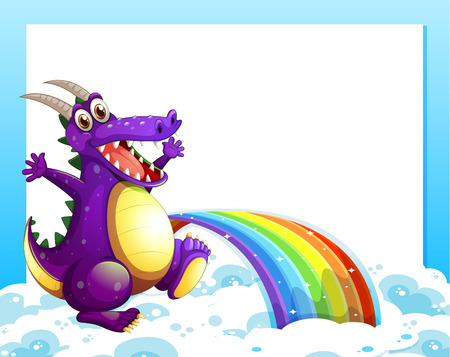 Illustration of a dragon near the rainbow in front of the empty template Vector