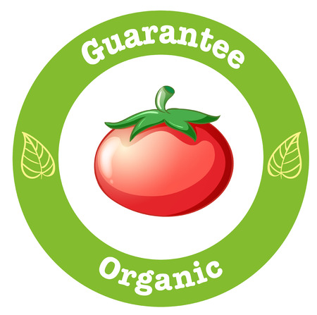 Illustration of a pure organic label with a red tomato on a white background Vector