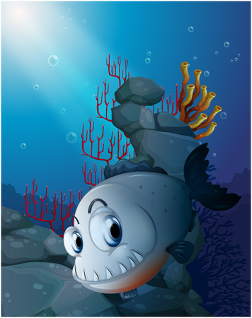 Illustration of a scary piranha near the rocks on a white background Vector