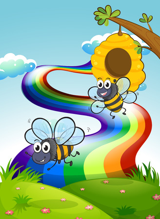 hilltop: Illustration of the two bees at the hilltop and a rainbow in the sky
