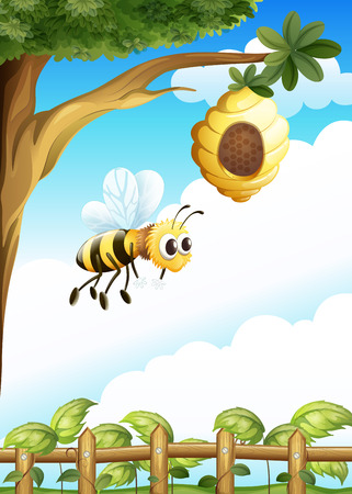 Illustration of a tree near the fence with a beehive and a bee Vector