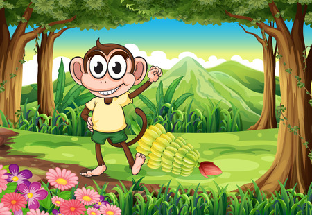 brown banana: Illustration of a smiling monkey at the forest with bananas