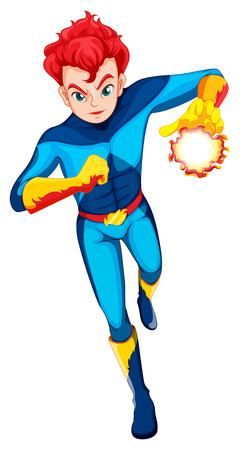 Illustration of a superhero with a flaming power on a white background Vector