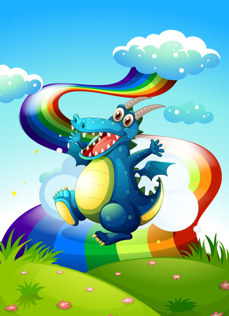 Illustration of a dragon at the hilltop and a rainbow in the sky Stock Vector - 25816616