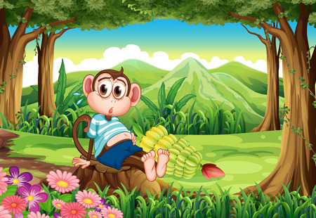 bloated: Illustration of a bloated monkey at the forest Illustration