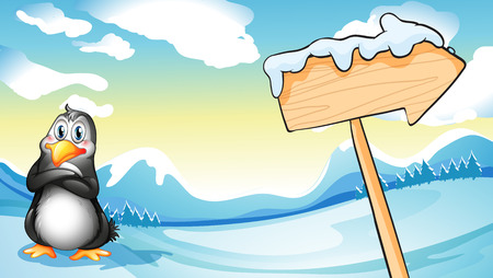 melting point: Illustration of a penguin beside the empty arrowboard