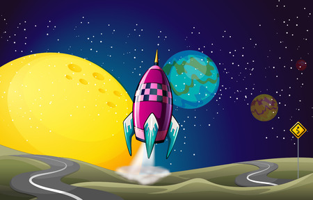 outerspace: Illustration of a spaceship in the outerspace near the moon Illustration