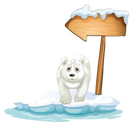 Illustration of a polar bear below the wooden arrowboard on a white background