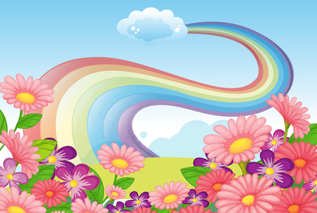 Illustration of the flowers at the hilltop and a rainbow in the sky Stock Vector - 25816627