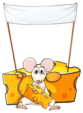 Illustration of a mouse eating below the empty banner on a white background Vector