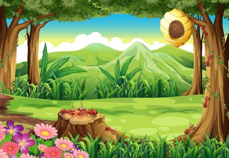 paisaje: Ilustración de un grupo de hormigas y una colmena en el bosque