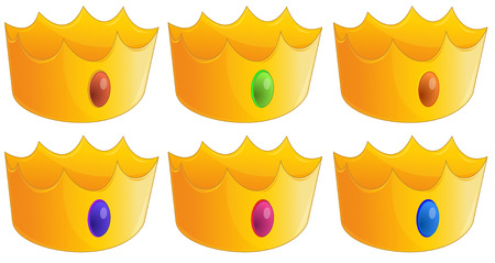 highness: Illustration of the six golden crowns on a white background