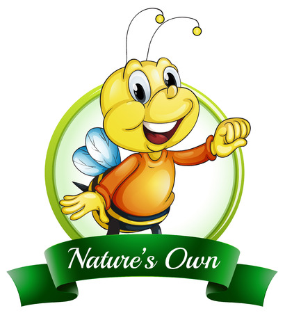 Illustration of a nature's own label with a smiling bee on a white background Vector